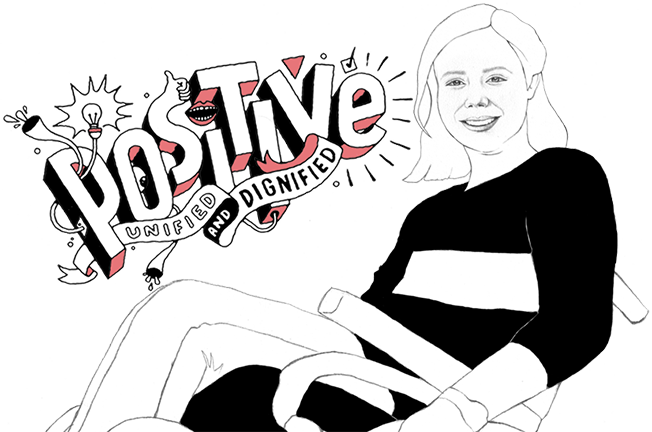 An illustration of a woman in a wheelchair with headline 'Positive, unified and dignified' to express DPA's brand positioning 'A Whole New Attitude'.