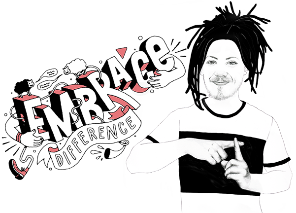 An illustration of hearing impaired man with dreadlocks signing the word 'Positive' with headline 'Embrace difference' to express DPA's brand positioning 'A Whole New Attitude'.