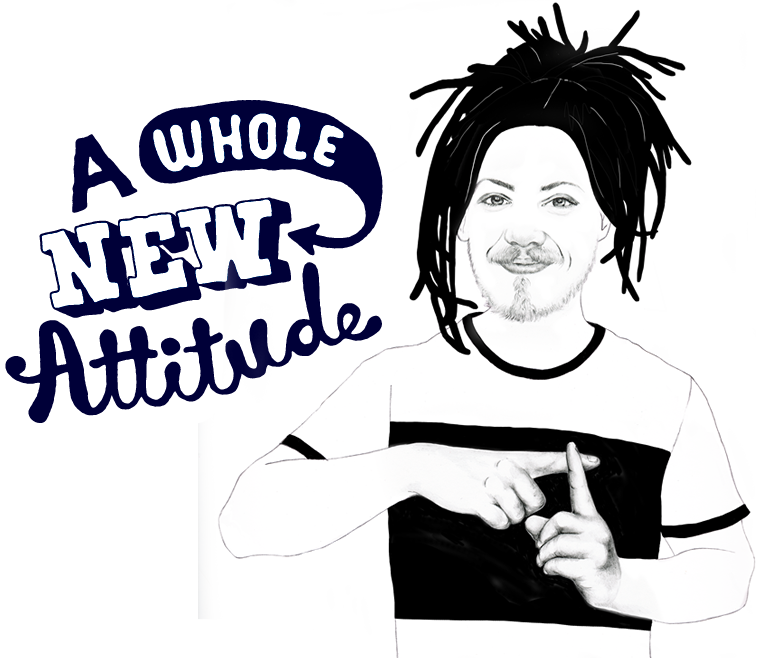 An illustration of a ecstatic boy with headline 'A whole new attitude'.